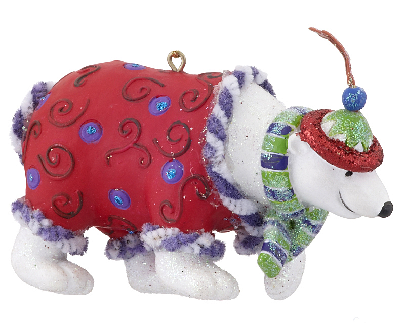 Funky polar bear christmas ornament zoo animals