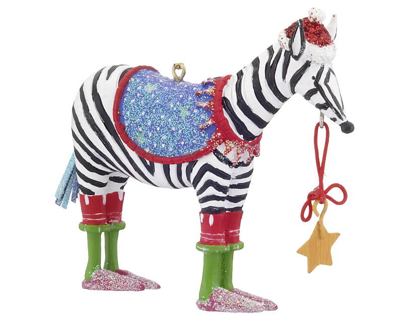 Funky zebra christmas ornament zoo animals