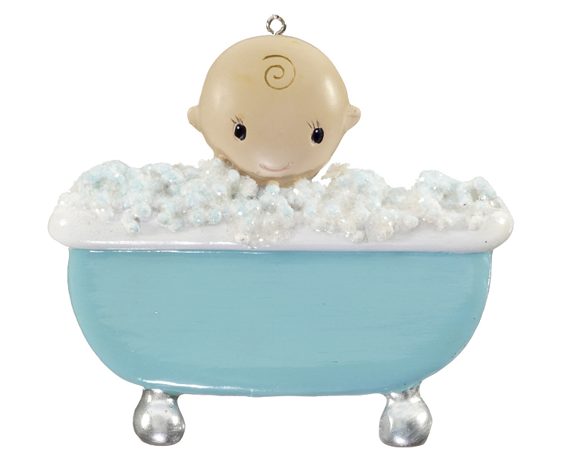 Baby Boy In Bubble Bath Christmas Ornament New Baby
