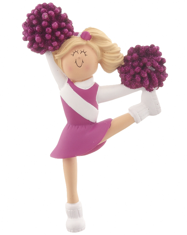 Cheerleader Purple Christmas Ornament Cheerleader And