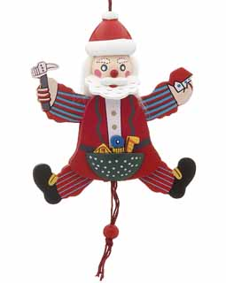 Jumping Jack Santa Ornament
