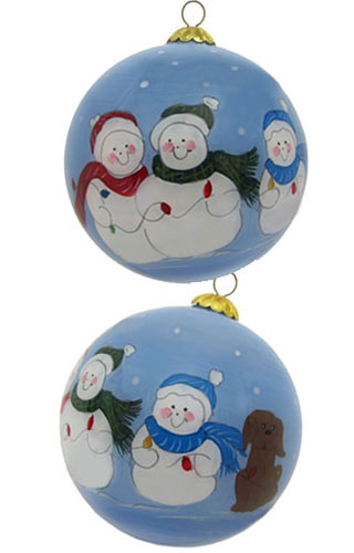 Snow Family of 3 Plus Dog Glass Ball