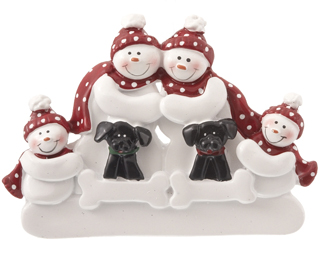 Snowman Family of 4 with 2 Black Dogs