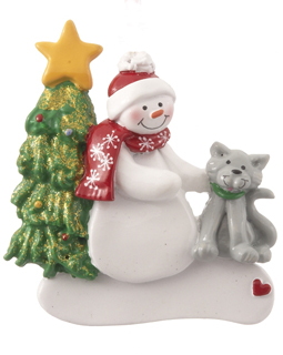 Single Snowman with Cat - Black, Tan or White