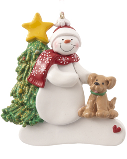Single Snowman with Dog - Black, Grey or White