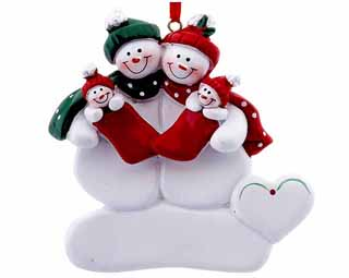 Snowman Couple Holding Twins