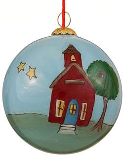 Ornaments for Christmas Trees: School House Christmas Ornament