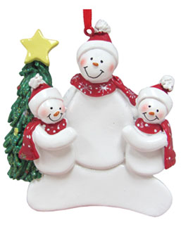 Single Snowman with 2 Children