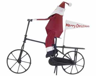 Santa Riding Bike with Flag
