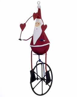 Santa on Unicycle with Hearts