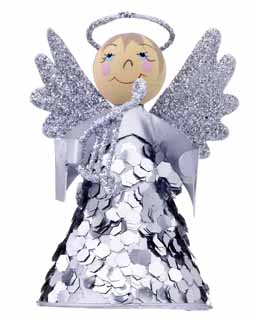 Mini Cone Angel with Sparkles - Silver Harp