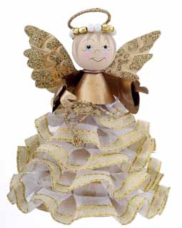 Angel Ornament with Ruffled Skirt - Gold Harp