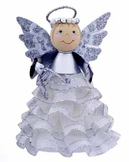 Angel Ornament with Ruffled Skirt - Silver
