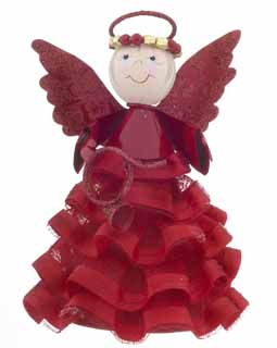 Angel Ornament with Ruffled Skirt - Red Horn