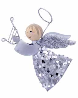 Flying Angel with Sparkles - Silver Harp