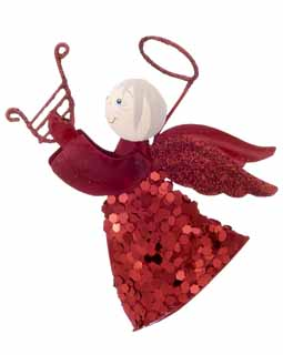 Flying Angel with Sparkles - Red Harp