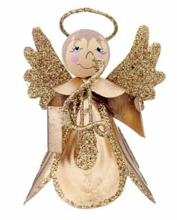 Mini Scallop Angel - Gold Harp