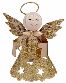 Glittered Star Angel - Gold Harp