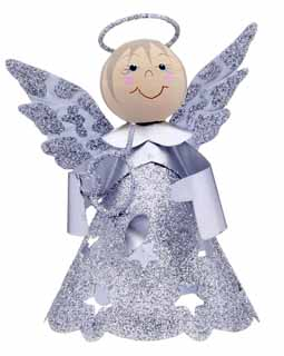 Glittered Star Angel - Silver Horn