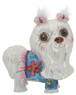 COGC11023 Maltese   Pink Bows Christmas Ornament