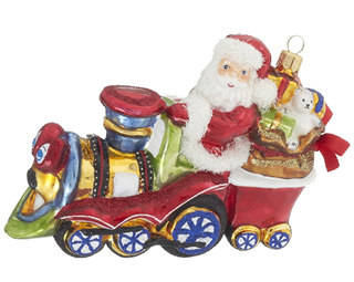 Smiling Locomotive with Santa