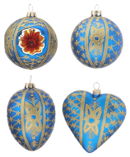 Blue Ornaments - Set of 4