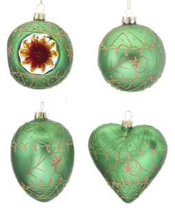 Green Ornaments - Set of 4