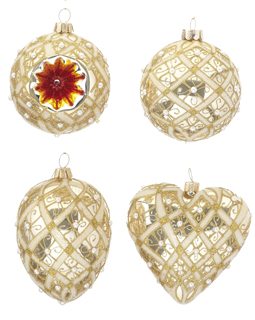 Gold Ornaments - Set of 4