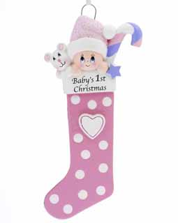 Baby's 1st Christmas Stocking Pink
