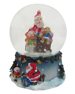 Small Santa Snow Globe - Teddy