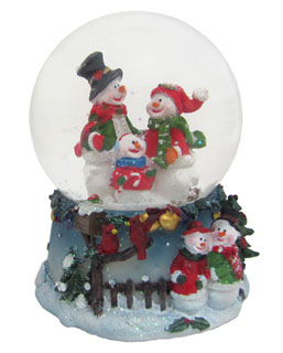 Small Snowman Snow Globe - Family
