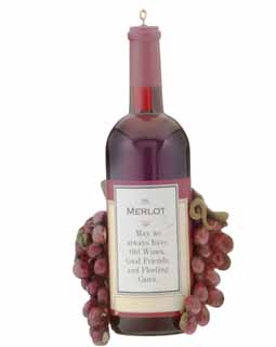Merlot Wine Bottle with Grapes