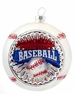 Concave Reflector Glass Baseball Ornament