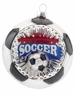 Concave Reflector Glass Soccer Ornament