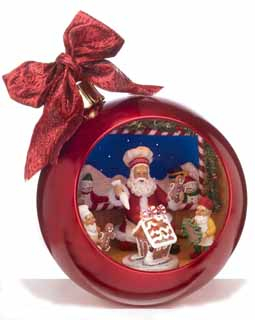 Fiberoptic Musical Ornament with Santa Gingerbread Scene