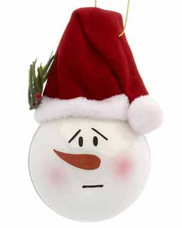 Snowman Face Wearing Stocking Cap