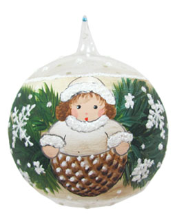 Pinecone Girl White with Garland