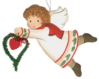 White Angel Flying with Garland