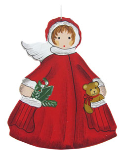 Red Angel with Teddy in Pocket