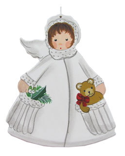 White Angel with Teddy in Pocket