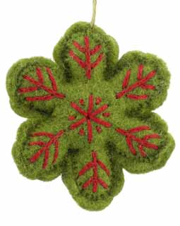 Nepal Boiled Wool Snowflake - Green