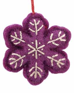 Nepal Boiled Wool Snowflake - Purple