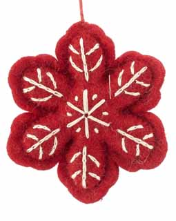Nepal Boiled Wool Snowflake - Red