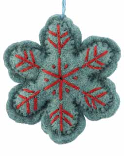 Nepal Boiled Wool Snowflake - Teal