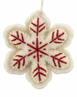 Nepal Boiled Wool Snowflake - White