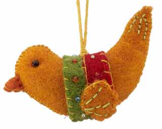 Nepal Boiled Wool Bird  - Orange