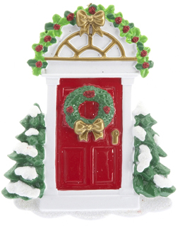 Red Door with Wreath and Evergreen Trees