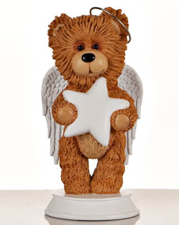 Angel Bear with White Star Figurine