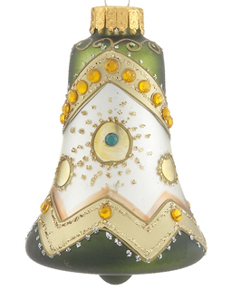 COST10036 Green Glass Bell Christmas Ornament