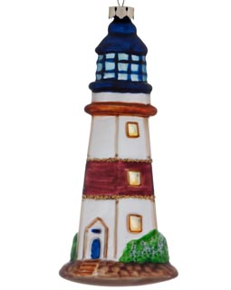 Lighthouse - Blue Tower White Striped